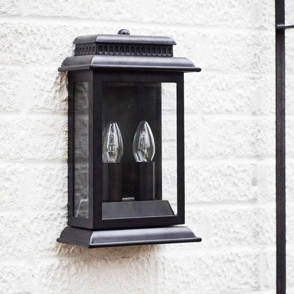 Matt Black Outdoor Wall Mounted Porch Light - The Farthing