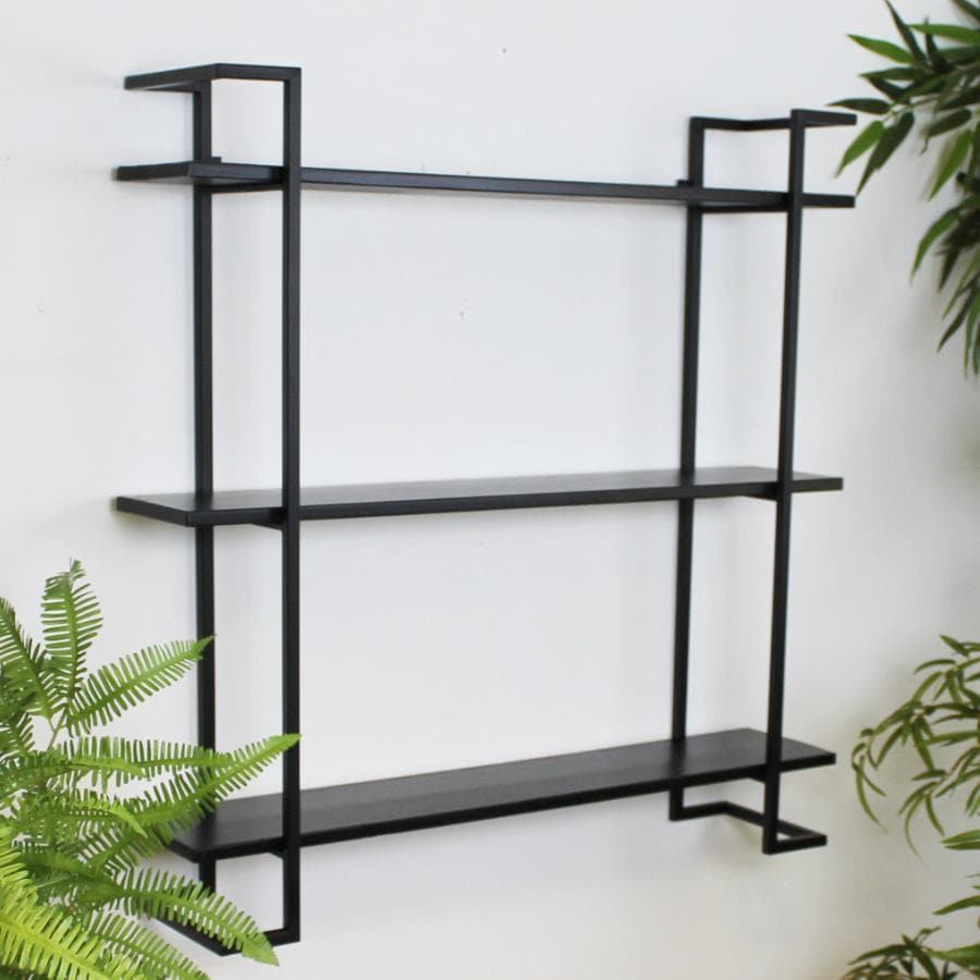 Matt Black Metal and Wood 3 Tier Wall Shelf | Farthing