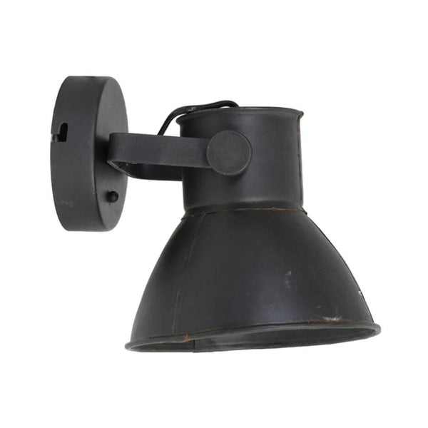 Matt Black Metal Factory Wall Light