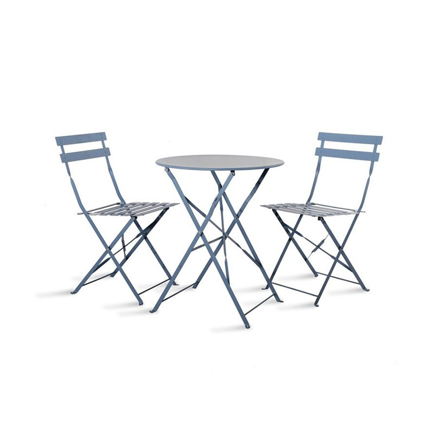 Metal Bistro Set of Table & Two Chairs in New Dorset Blue - The Farthing  - 1