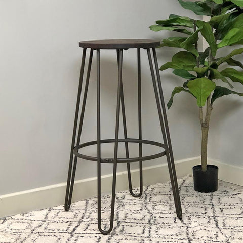 Metal & Wood Stool - Black | Farthing 22