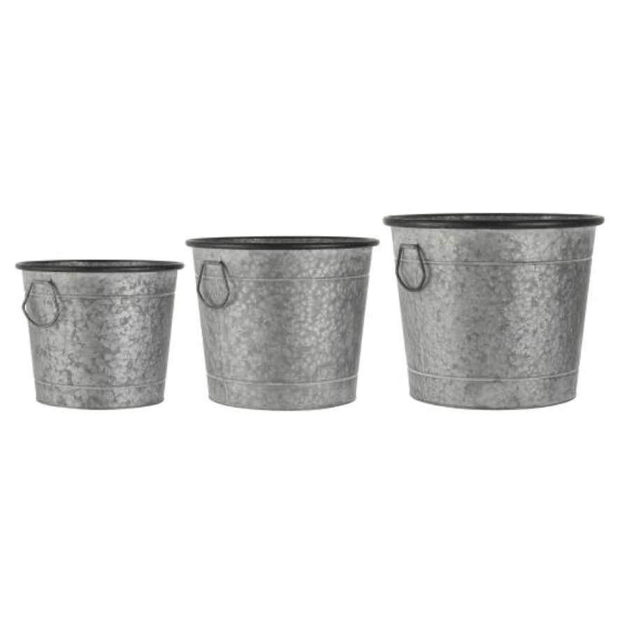 Metal Round Dorset Planters  Set of 3 Tubs