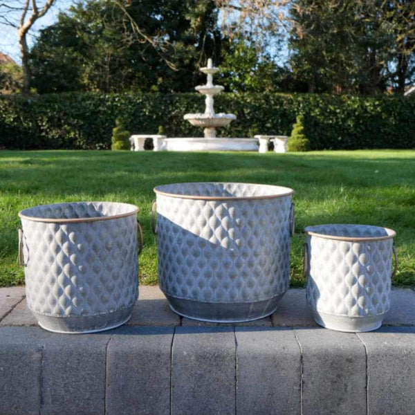 Metal Round Textured Planters  Set of 3 Tubs