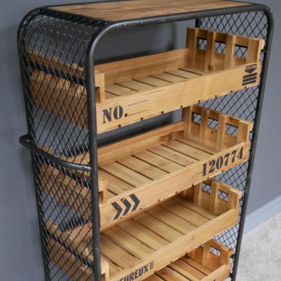 Metal Shelf Trolley with Wood Drawers