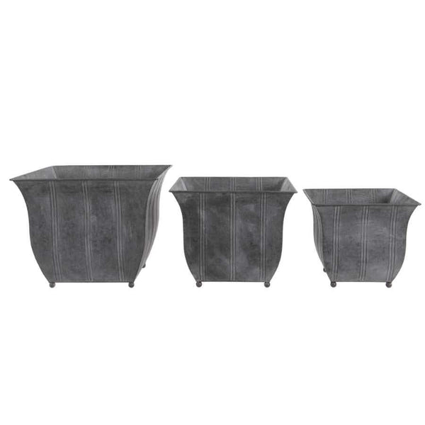 Metal Square Devon Planters  Set of 3 Tubs