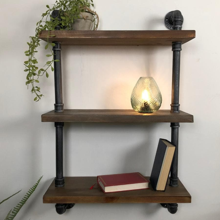 Metal and Wood Thorncombe Pipe Wall Shelf