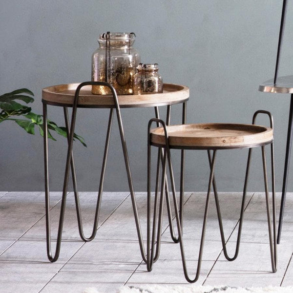Metal and Wood Hairpin Side Table Set at the Farthing