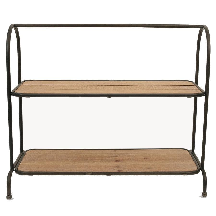 Metal and Wood Two Tier Storage Shelf at the Farthing