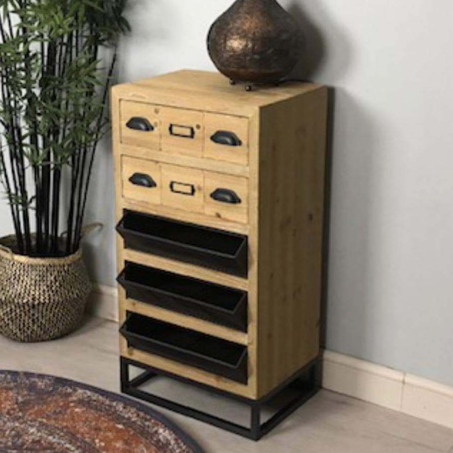 Metal and Wood Burley Drawer Cabinet art the Farthing  1