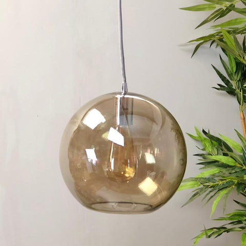 Metallic Amber Glass Dome Pendant Light at the Farthing 3