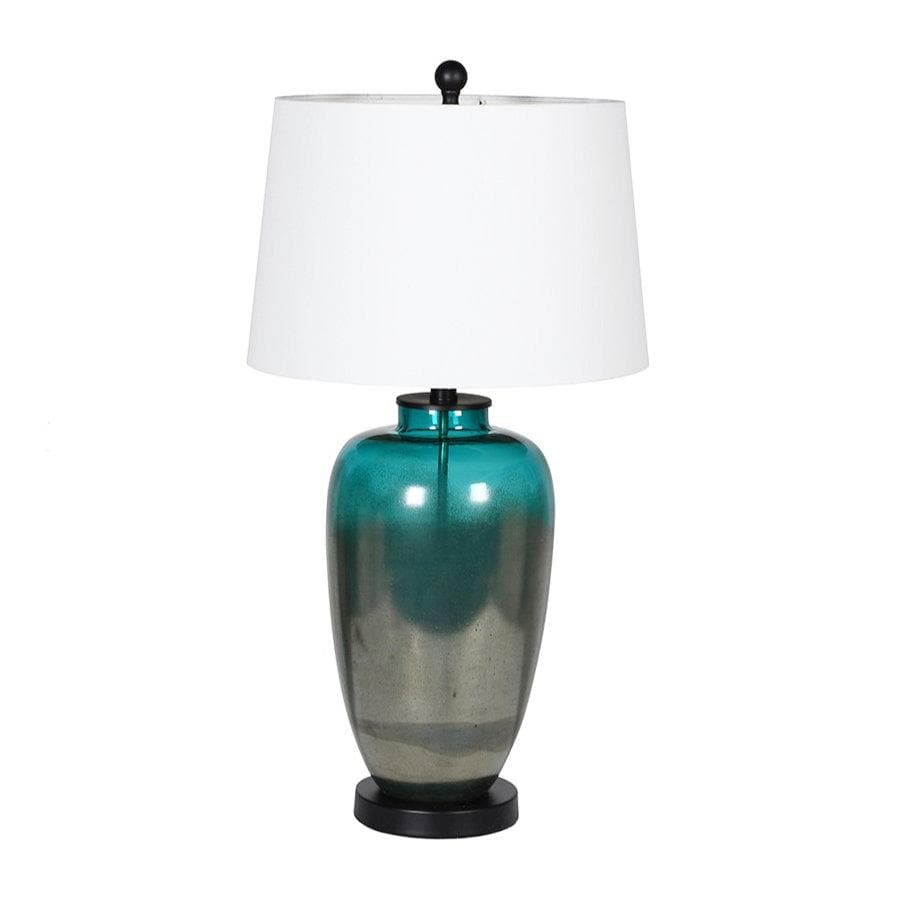 Metallic Teal Blown Glass Lamp and Shade at the Farthing