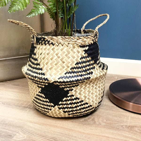 Monochrome Patterned Seagrass Basket at the Farthing