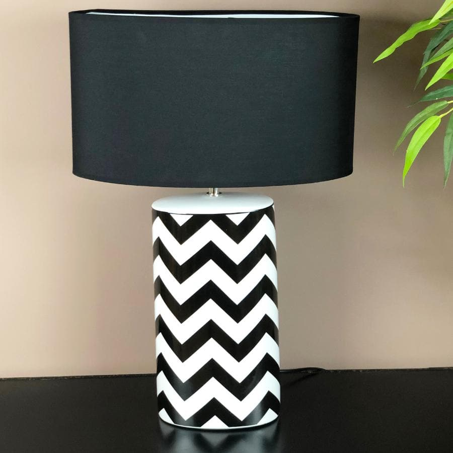 Monochrome Zig Zag Table Lamp | The Farthing 1