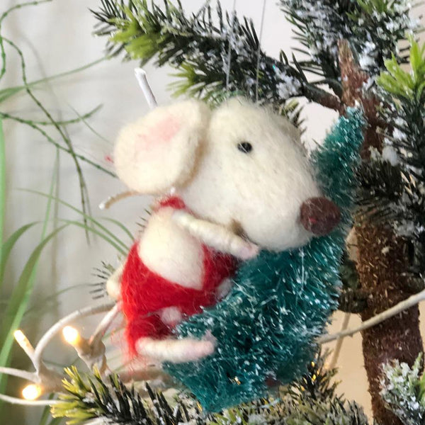 Monty Mouse Felt Christmas Tree Decoration | Farthing