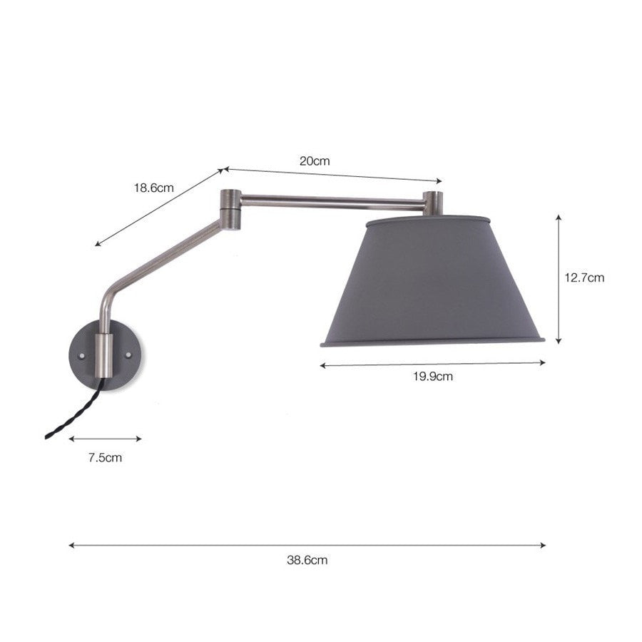 Moveable Arm Wall Light in Charcoal - Steel - The Farthing