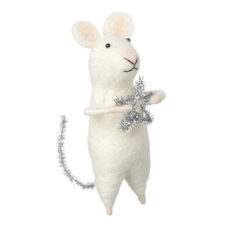 Felt Christmas Mouse Holding Star Decoration | Farthing
