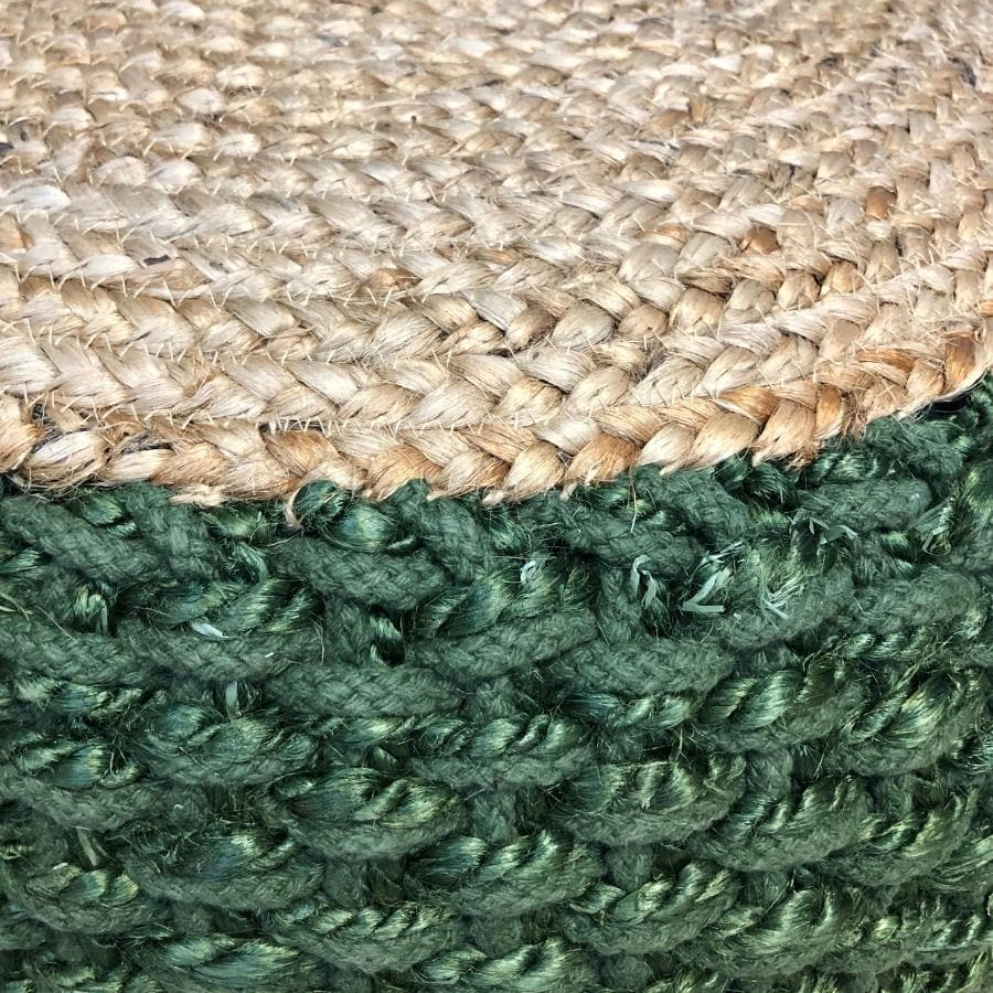 Natural Jute Round Pouffe - Green at the Farthing 1