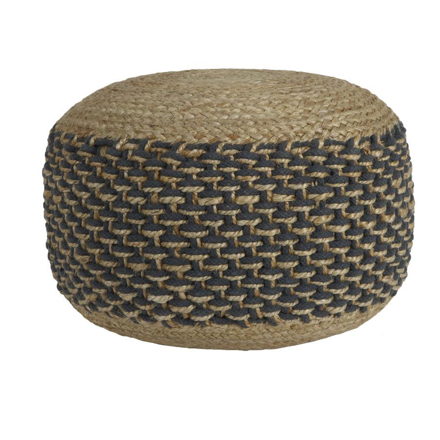 Natural Jute Round Pouffe - Grey | The Farthing