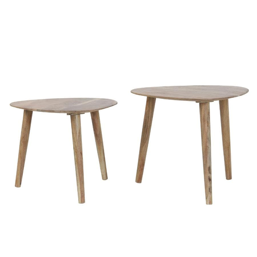 Natural Wood Triangular Nestling Table Set at the Farthing