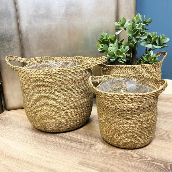 Natural Woven Seagrass Basket Set at the Farthing