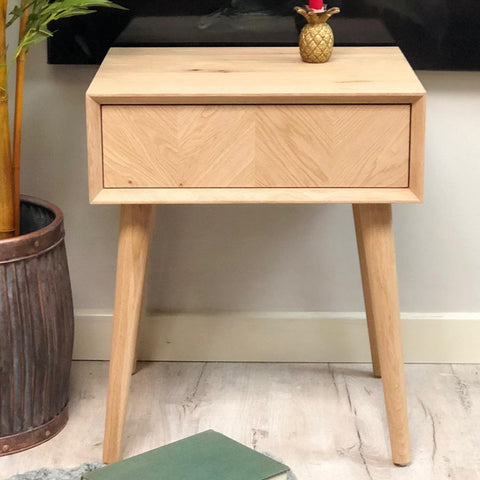 Merveilleux Oak Side Table With Chevron Front | Farthing