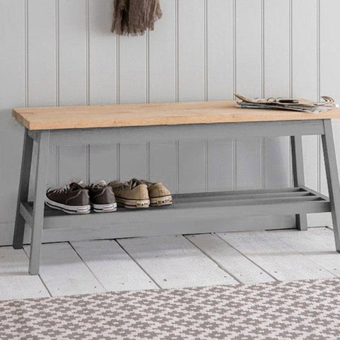 Oak Topped Hallway Bench in Manor Grey - The Farthing