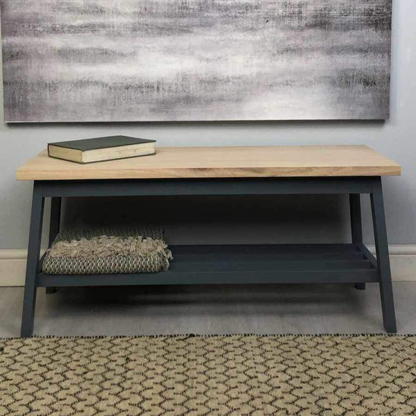 Oak Topped Hallway Bench in Charcoal - The Farthing 5