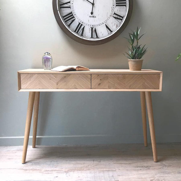 Oak Console Table with Chevron Front | Farthing 1