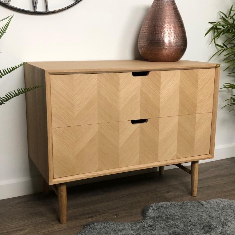 Oak Drawer Cabinet with Chevron Front at the Farthing 1