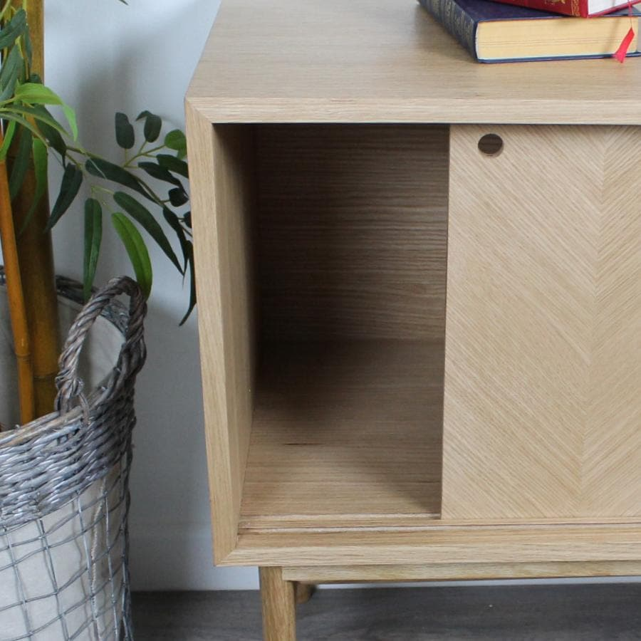 Oak Sideboard with Sliding Chevron Front Doors | The Farthing