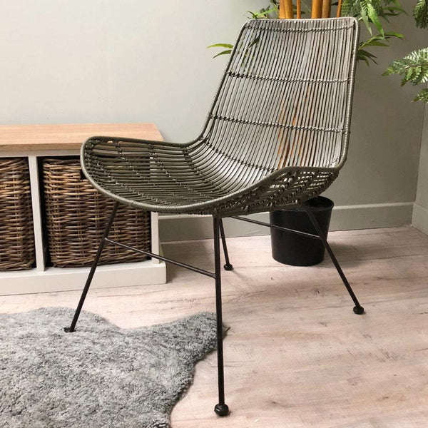 Olive Green Rattan Chair | The Farthing 2