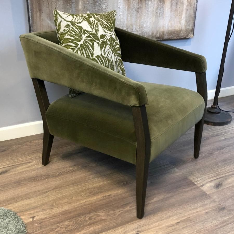 Olive Green Velvet Arm Chair at the Farthing 1