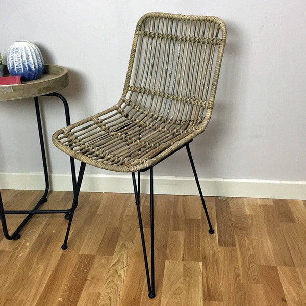 Open Weave Rattan Dining Chair - Natural - The Farthing