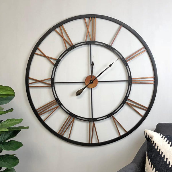 Rustic Oversized Vintage Black & Copper Skeleton Clock - The Farthing - 3