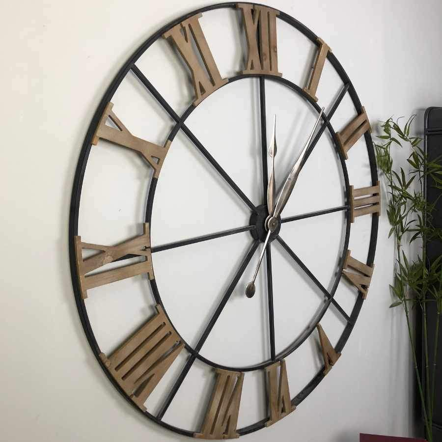 Oversized Metal and Wood Skeleton Clock | Farthing