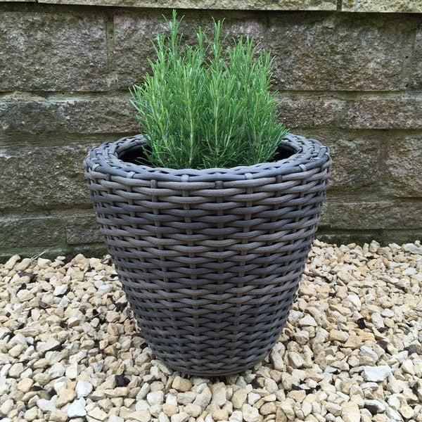 PE Rattan Planter in Brown - 34cm - The Farthing  - 1