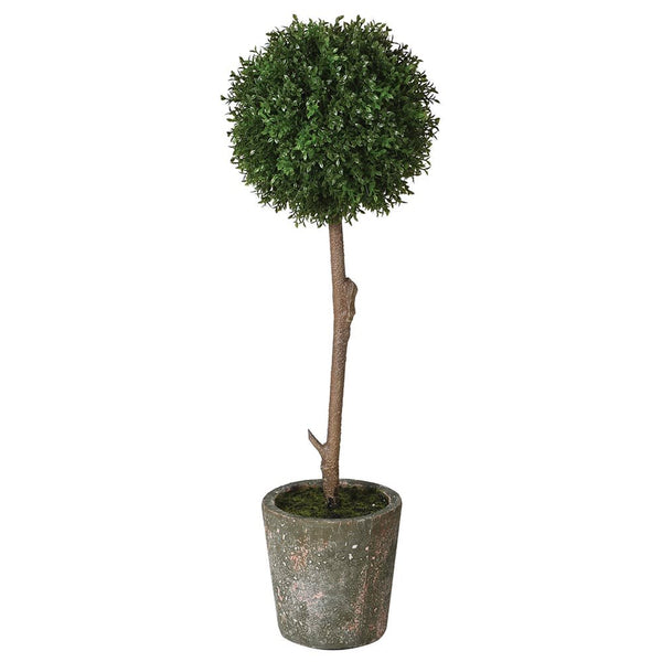 Faux Potted Round Boxwood Plant
