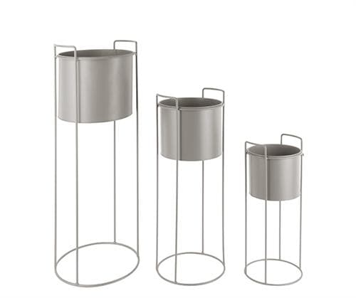 Set of Three Grey Raised Round Metal Plant Pots - On Stand