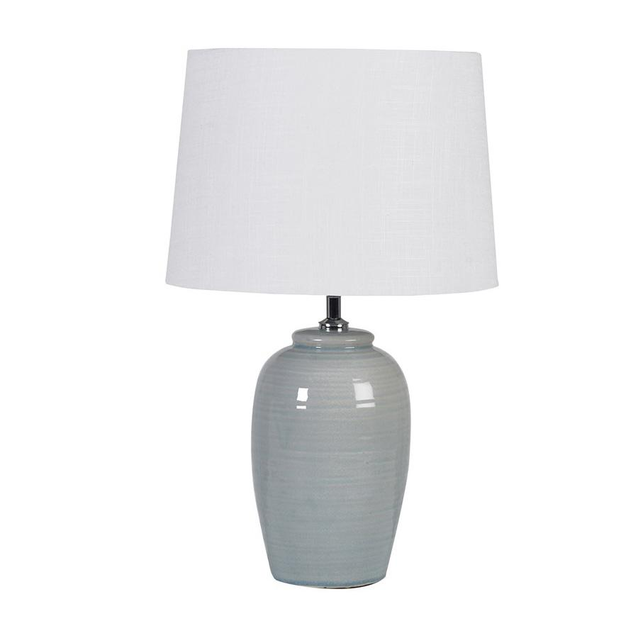 Pale Green Barrel Glazed Table Lamp & Shade at the Farthing