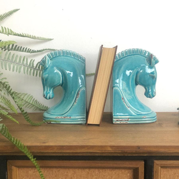 Pale Blue Horse Head Bookends at the farthing
