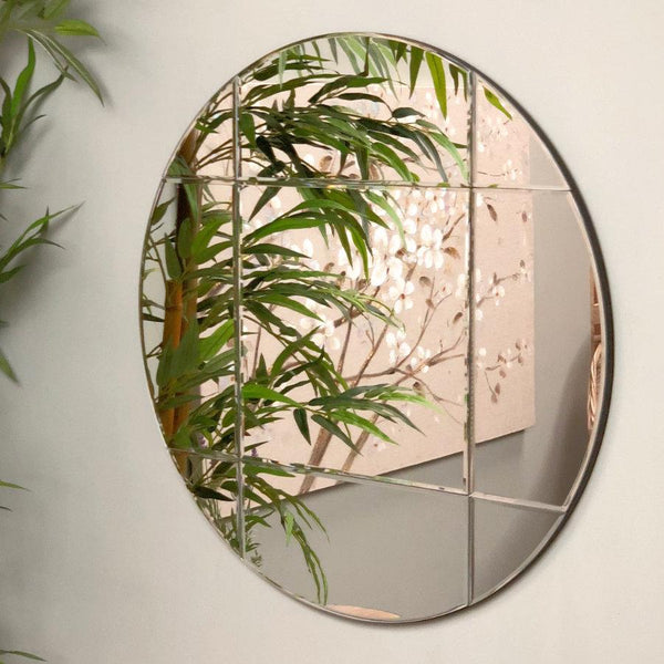 Panelled Round Brass Wall Mirror | The Farthing