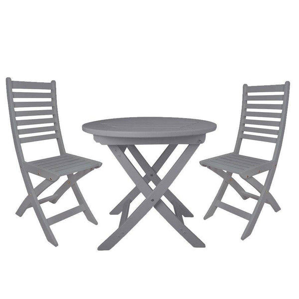 Parisian Dove Grey Wooden Bistro Set - The Farthing