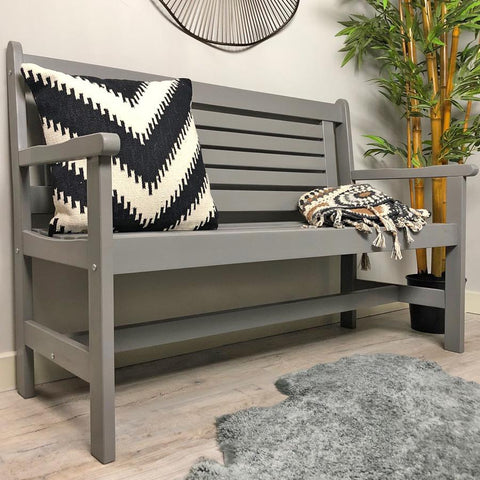 Parisian Indoor / Outdoor Grey Wooden Bench | Farthing 1