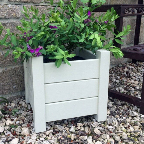 Parisian Vintage White Wooden Square Planter - The Farthing