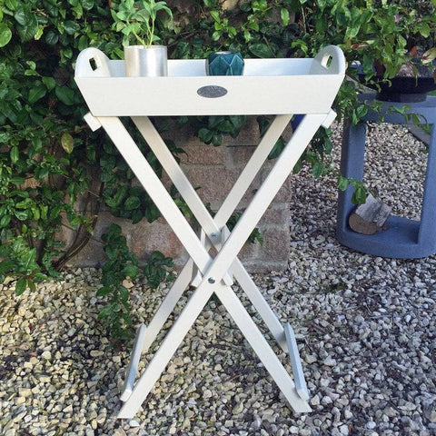 Parisian Vintage White Wooden Butlers Tray Table - The Farthing