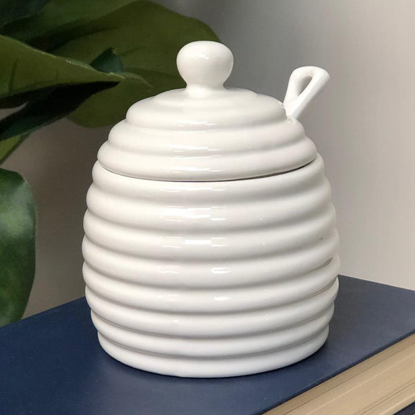 Porcelain Beehive Honey Pot Jar | Farthing 1