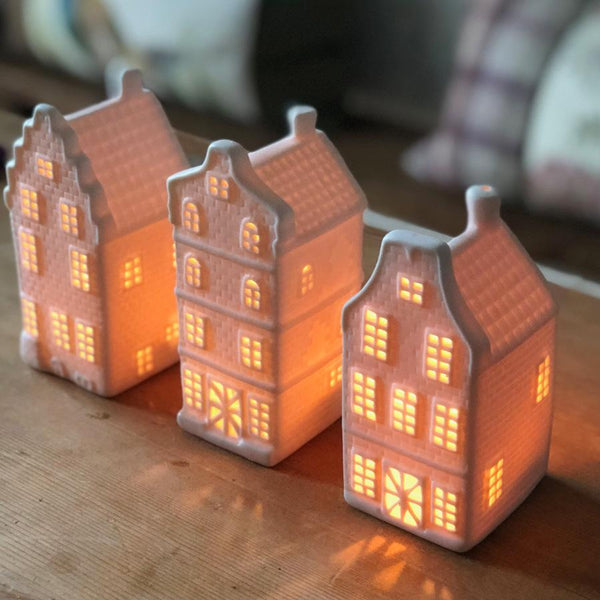 Porcelain Christmas House Tea Light Set | Farthing