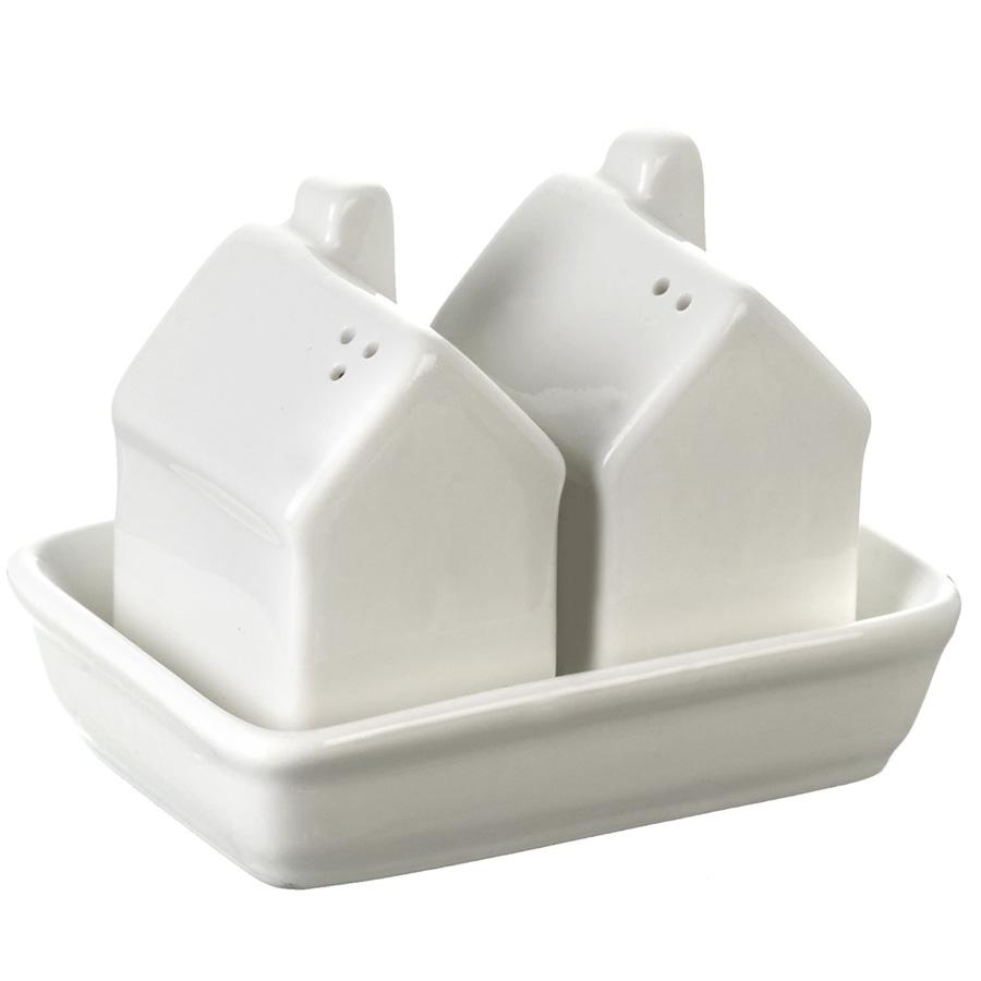 Porcelain House Salt & Pepper Set | Farthing 1