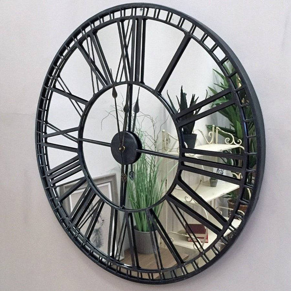 Rustic Mirrored Skeleton Wall Clock - The Farthing