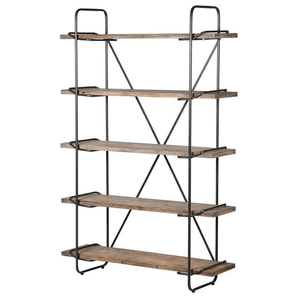Tall Industrial Wood & Metal Shelving Unit